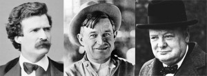Mark Twain, Will Rogers, Winston Churchill